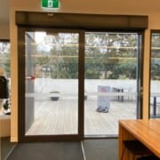Visitor Centre cafe outside deck access from middle of cafe